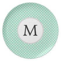Personalized Monogram Polka Dots Pattern in Mint Plate