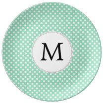 Personalized Monogram Polka Dots Pattern in Mint Porcelain Plate