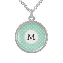 Personalized Monogram Polka Dots Pattern in Mint Sterling Silver Necklace