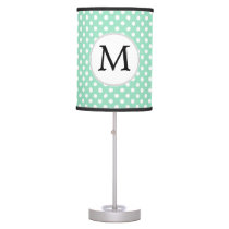 Personalized Monogram Polka Dots Pattern in Mint Table Lamp