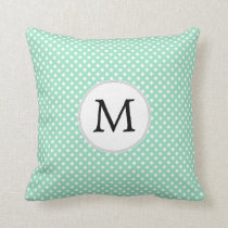 Personalized Monogram Polka Dots Pattern in Mint Throw Pillow