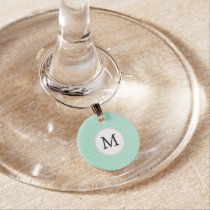 Personalized Monogram Polka Dots Pattern in Mint Wine Charm