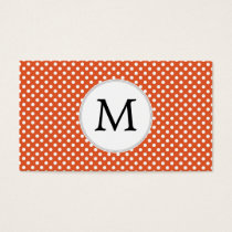 Personalized Monogram Polka Dots Pattern in Orange Business Card