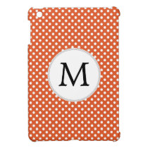 Personalized Monogram Polka Dots Pattern in Orange Case For The iPad Mini