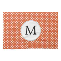 Personalized Monogram Polka Dots Pattern in Orange Hand Towel