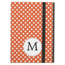 Personalized Monogram Polka Dots Pattern in Orange iPad Air Case