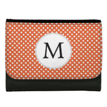 Personalized Monogram Polka Dots Pattern in Orange Leather Wallet For Women