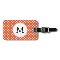 Personalized Monogram Polka Dots Pattern in Orange Luggage Tag