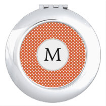 Personalized Monogram Polka Dots Pattern in Orange Mirror For Makeup
