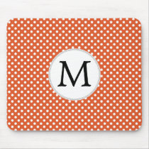 Personalized Monogram Polka Dots Pattern in Orange Mouse Pad