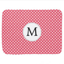 Personalized Monogram Polka Dots Pattern in Pink Baby Blanket