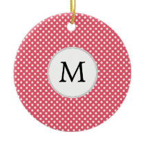 Personalized Monogram Polka Dots Pattern in Pink Ceramic Ornament