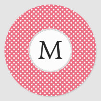 Personalized Monogram Polka Dots Pattern in Pink Classic Round Sticker