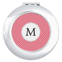 Personalized Monogram Polka Dots Pattern in Pink Compact Mirror