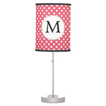 Personalized Monogram Polka Dots Pattern in Pink Desk Lamp