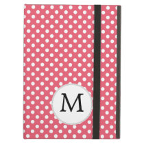 Personalized Monogram Polka Dots Pattern in Pink iPad Air Covers