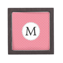 Personalized Monogram Polka Dots Pattern in Pink Jewelry Box