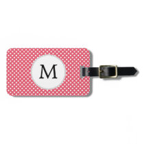 Personalized Monogram Polka Dots Pattern in Pink Luggage Tag