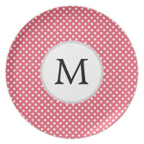 Personalized Monogram Polka Dots Pattern in Pink Melamine Plate