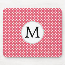 Personalized Monogram Polka Dots Pattern in Pink Mouse Pad