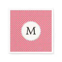 Personalized Monogram Polka Dots Pattern in Pink Napkin