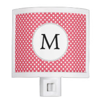 Personalized Monogram Polka Dots Pattern in Pink Night Light