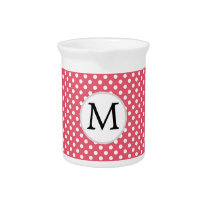 Personalized Monogram Polka Dots Pattern in Pink Pitcher
