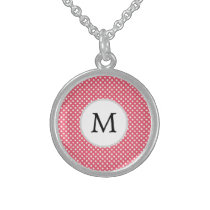 Personalized Monogram Polka Dots Pattern in Pink Sterling Silver Necklace