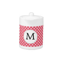 Personalized Monogram Polka Dots Pattern in Pink Teapot