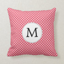 Personalized Monogram Polka Dots Pattern in Pink Throw Pillow