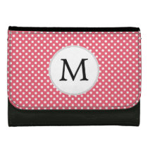 Personalized Monogram Polka Dots Pattern in Pink Wallet For Women