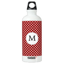 Personalized Monogram Polka Dots Pattern in red Aluminum Water Bottle