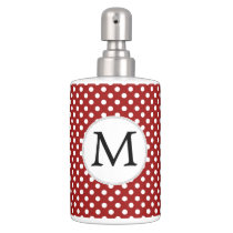 Personalized Monogram Polka Dots Pattern in red Bath Set