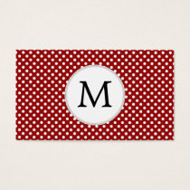 Personalized Monogram Polka Dots Pattern in red Business Card