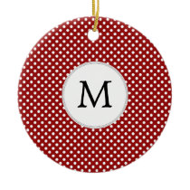 Personalized Monogram Polka Dots Pattern in red Ceramic Ornament