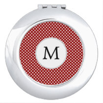 Personalized Monogram Polka Dots Pattern in red Compact Mirror