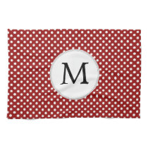 Personalized Monogram Polka Dots Pattern in red Hand Towels