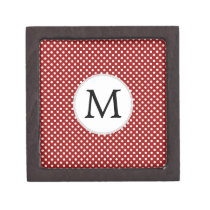 Personalized Monogram Polka Dots Pattern in red Jewelry Box
