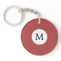 Personalized Monogram Polka Dots Pattern in red Keychain