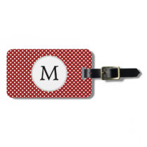 Personalized Monogram Polka Dots Pattern in red Luggage Tag
