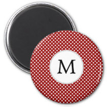 Personalized Monogram Polka Dots Pattern in red Magnet