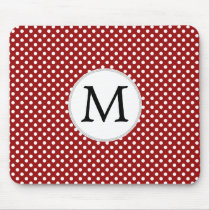 Personalized Monogram Polka Dots Pattern in red Mouse Pad