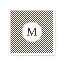 Personalized Monogram Polka Dots Pattern in red Napkin