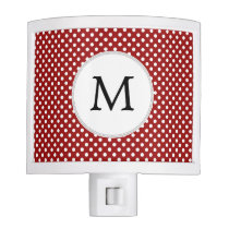 Personalized Monogram Polka Dots Pattern in red Night Light