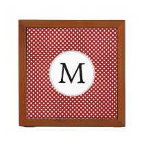 Personalized Monogram Polka Dots Pattern in red Pencil/Pen Holder