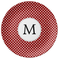 Personalized Monogram Polka Dots Pattern in red Porcelain Plate