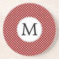 Personalized Monogram Polka Dots Pattern in red Sandstone Coaster