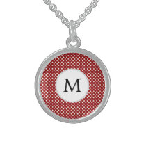 Personalized Monogram Polka Dots Pattern in red Sterling Silver Necklace