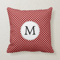 Personalized Monogram Polka Dots Pattern in red Throw Pillow