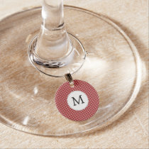 Personalized Monogram Polka Dots Pattern in red Wine Charm